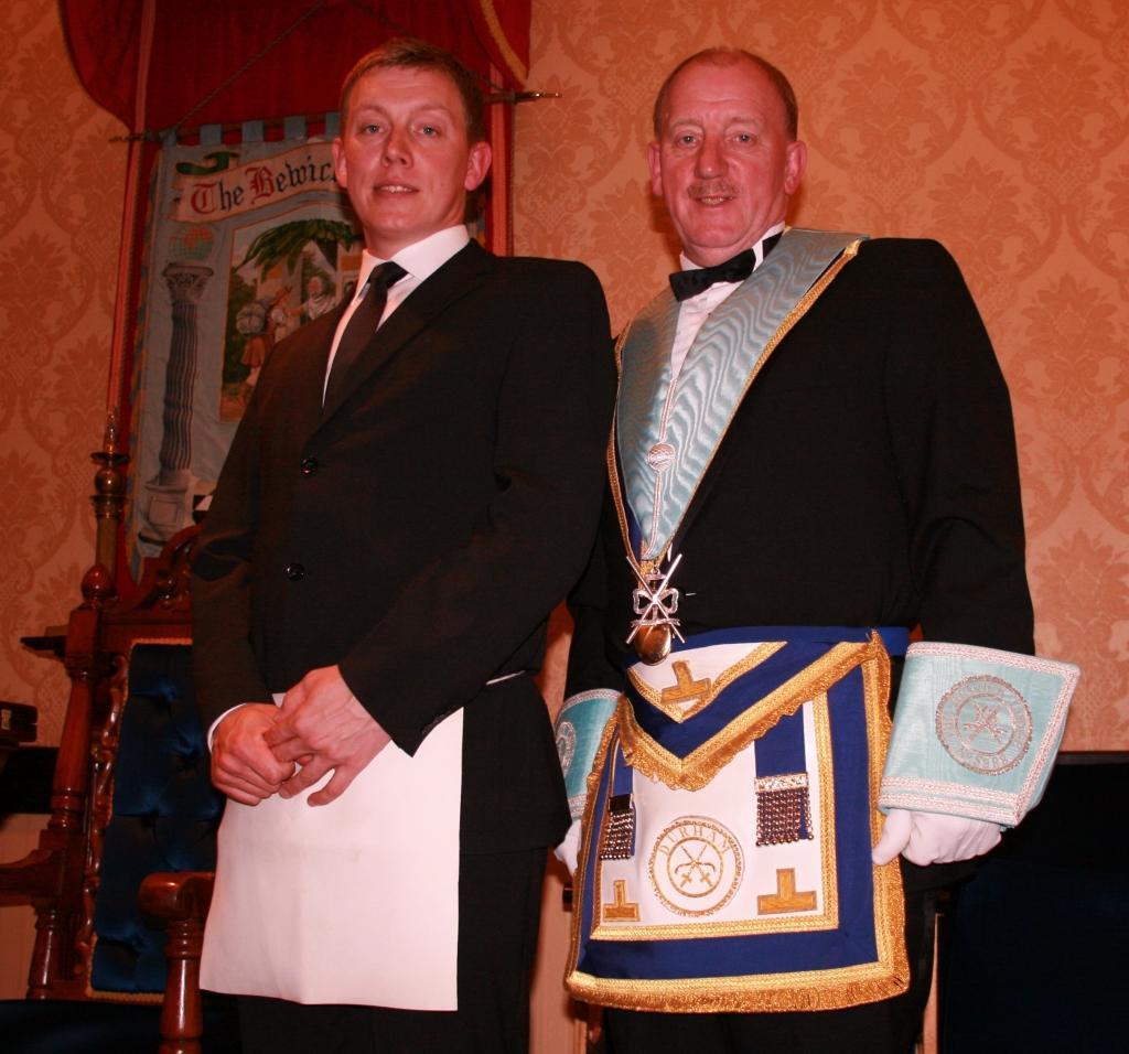 Paul Silcock, initiated into Freemasonry 6th May 2015 by his father W Bro Ian Silcock.
